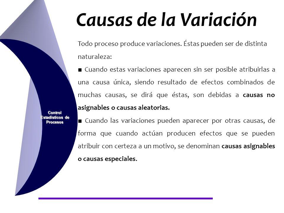 Causas de la Variación Control Estadísticos de Procesos CAUSAS NO ASIGNABLES O CAUSAS ALEATORIAS: Su naturaleza es de tipo aleatorio, debidas a la propia variación natural del proceso, y como consecuencia de las mismas, el proceso tiene un comportamiento estable en el tiempo, de forma que las características de salida se pueden predecir.