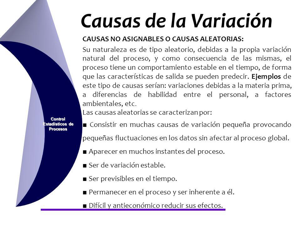 Causas de la Variación Control Estadísticos de Procesos CAUSAS NO ASIGNABLES O CAUSAS ALEATORIAS: Su naturaleza es de tipo aleatorio, debidas a la pro