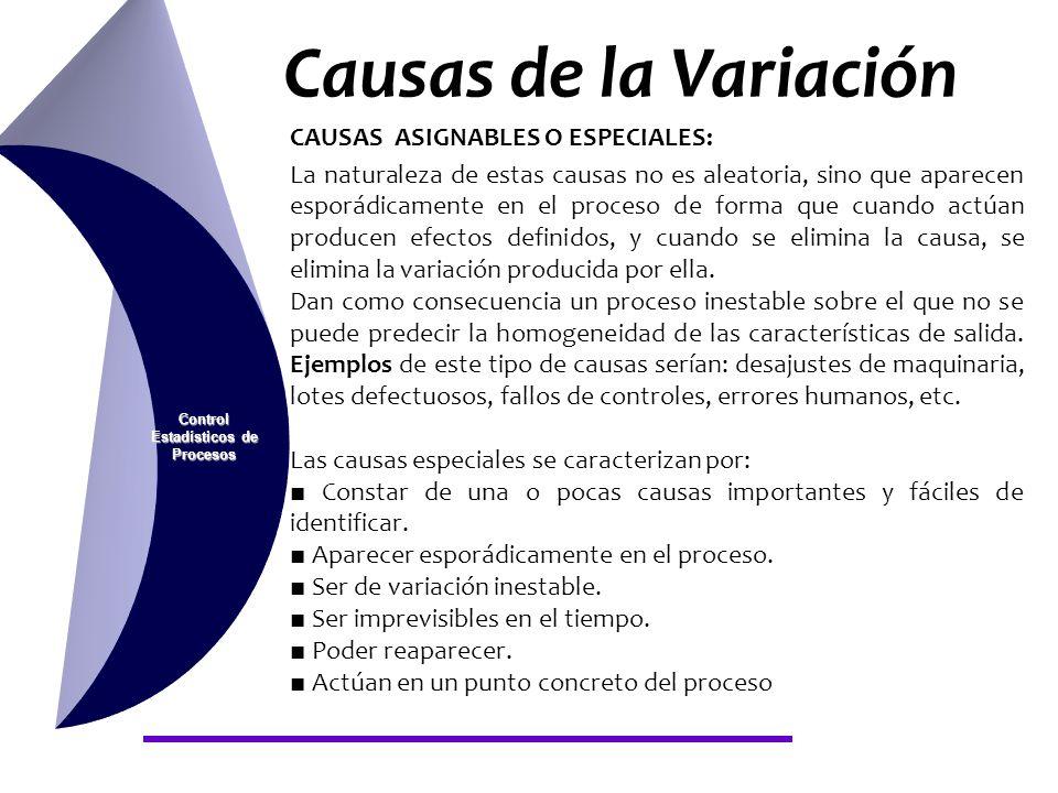 Causas de la Variación Control Estadísticos de Procesos CAUSAS ASIGNABLES O ESPECIALES: La naturaleza de estas causas no es aleatoria, sino que aparec