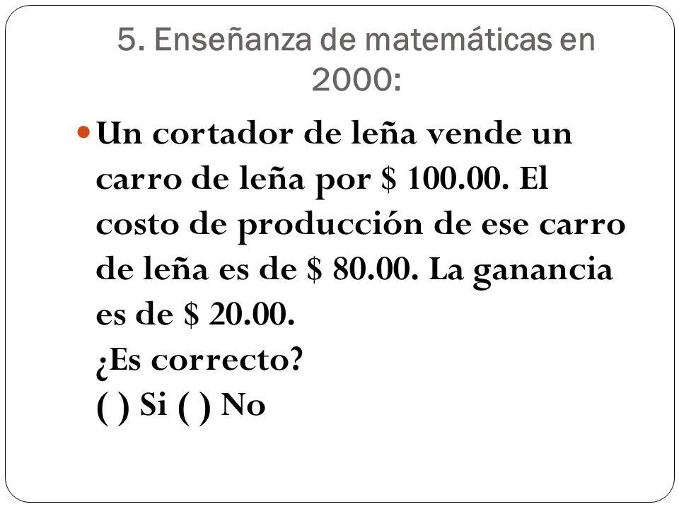 5. Enseñanza de matemáticas en 2000: Un cortador de leña vende un carro de leña por $ 100.00. El costo de producción de ese carro de leña es de $ 80.0