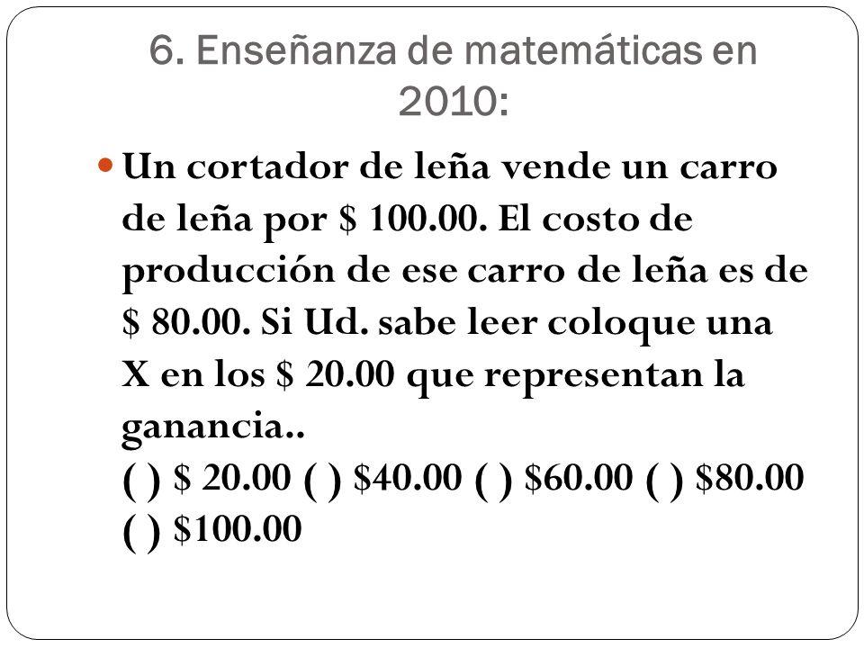 6. Enseñanza de matemáticas en 2010: Un cortador de leña vende un carro de leña por $ 100.00. El costo de producción de ese carro de leña es de $ 80.0