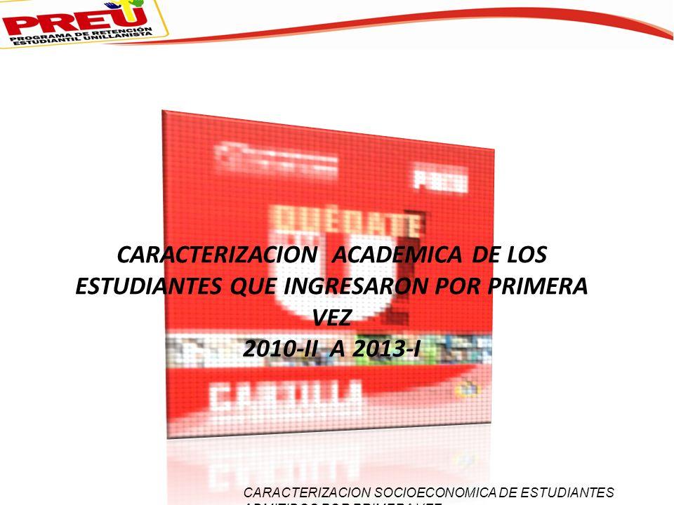 CARACTERIZACION ACADEMICA DE LOS ESTUDIANTES QUE INGRESARON POR PRIMERA VEZ 2010-II A 2013-I CARACTERIZACION SOCIOECONOMICA DE ESTUDIANTES ADMITIDOS P