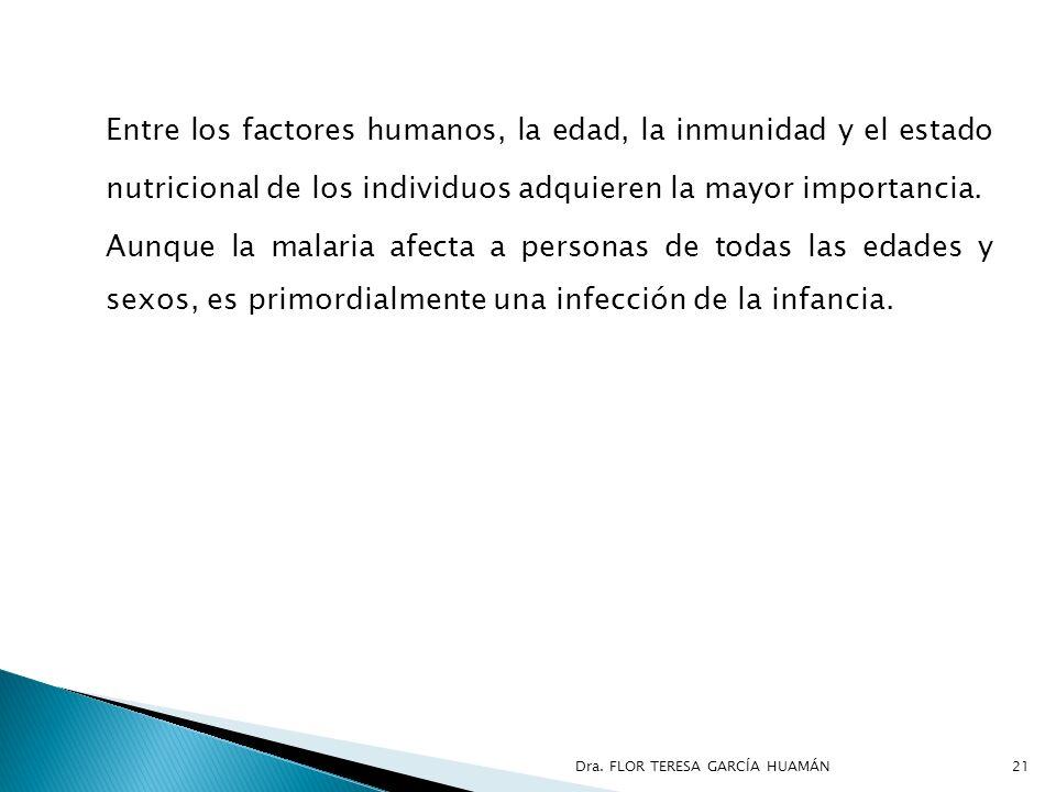Entre los factores humanos, la edad, la inmunidad y el estado nutricional de los individuos adquieren la mayor importancia. Aunque la malaria afecta a