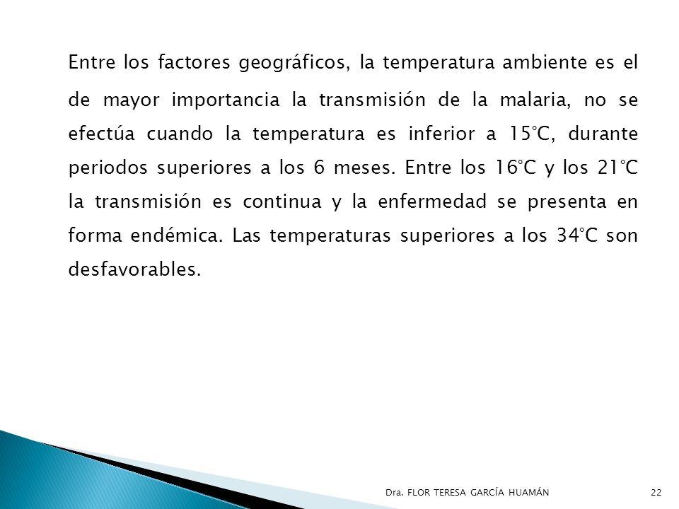 Entre los factores geográficos, la temperatura ambiente es el de mayor importancia la transmisión de la malaria, no se efectúa cuando la temperatura e