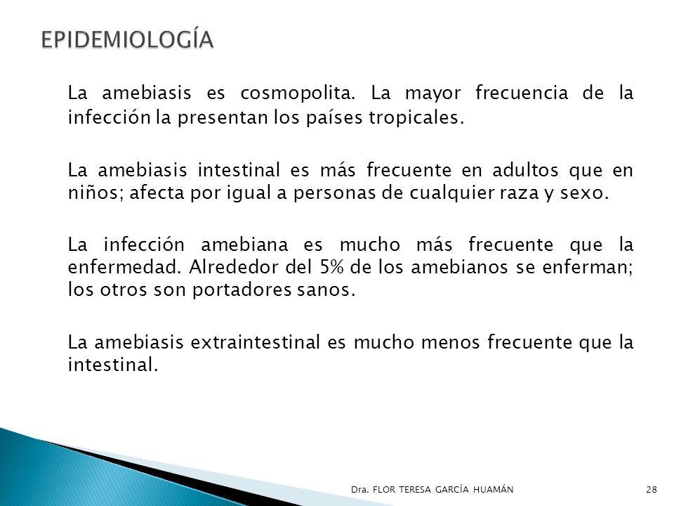 La amebiasis es cosmopolita. La mayor frecuencia de la infección la presentan los países tropicales. La amebiasis intestinal es más frecuente en adult