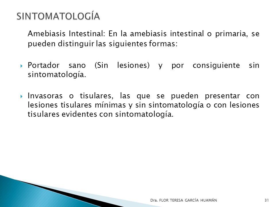Amebiasis Intestinal: En la amebiasis intestinal o primaria, se pueden distinguir las siguientes formas: Portador sano (Sin lesiones) y por consiguien