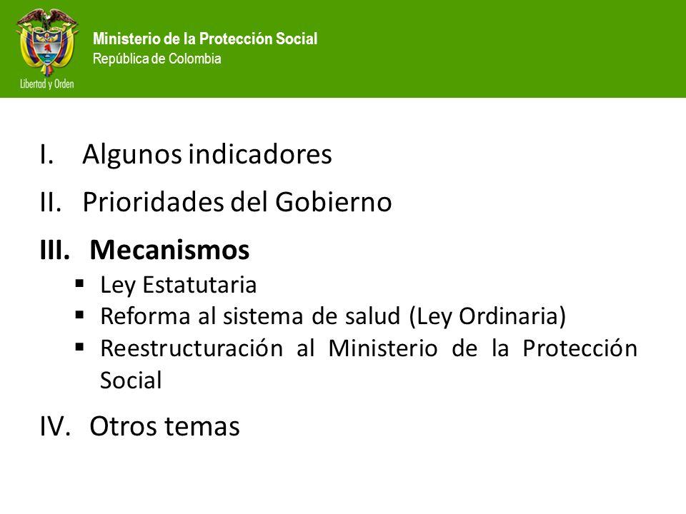Ministerio de la Protección Social República de Colombia I.Algunos indicadores II.Prioridades del Gobierno III.
