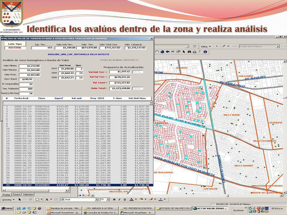 Identifica los avalúos dentro de la zona y realiza análisis