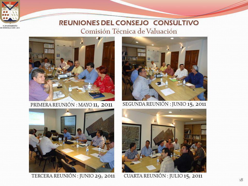 PRIMERA REUNIÓN : MAYO 11, 2011 18 REUNIONES DEL CONSEJO CONSULTIVO REUNIONES DEL CONSEJO CONSULTIVO Comisión Técnica de Valuación SEGUNDA REUNIÓN : J
