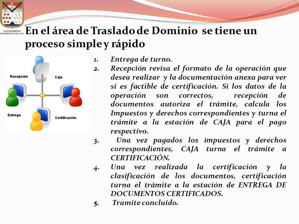 En el área de Traslado de Dominio se tiene un proceso simple y rápido 1.Entrega de turno. 2.Recepción revisa el formato de la operación que desea real