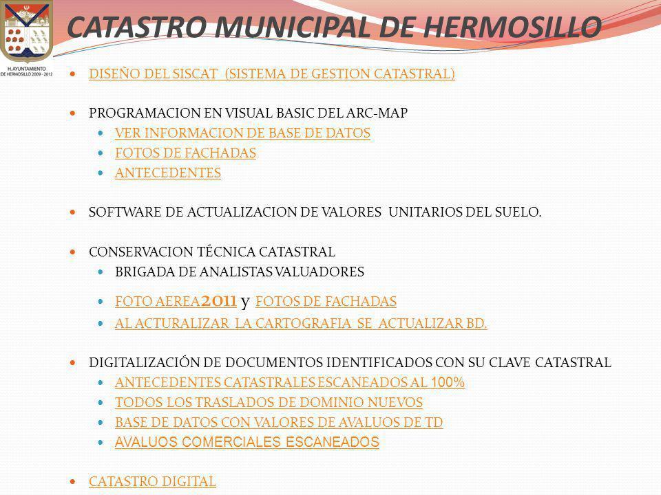 DISEÑO DEL SISCAT (SISTEMA DE GESTION CATASTRAL) PROGRAMACION EN VISUAL BASIC DEL ARC-MAP VER INFORMACION DE BASE DE DATOS FOTOS DE FACHADAS ANTECEDEN