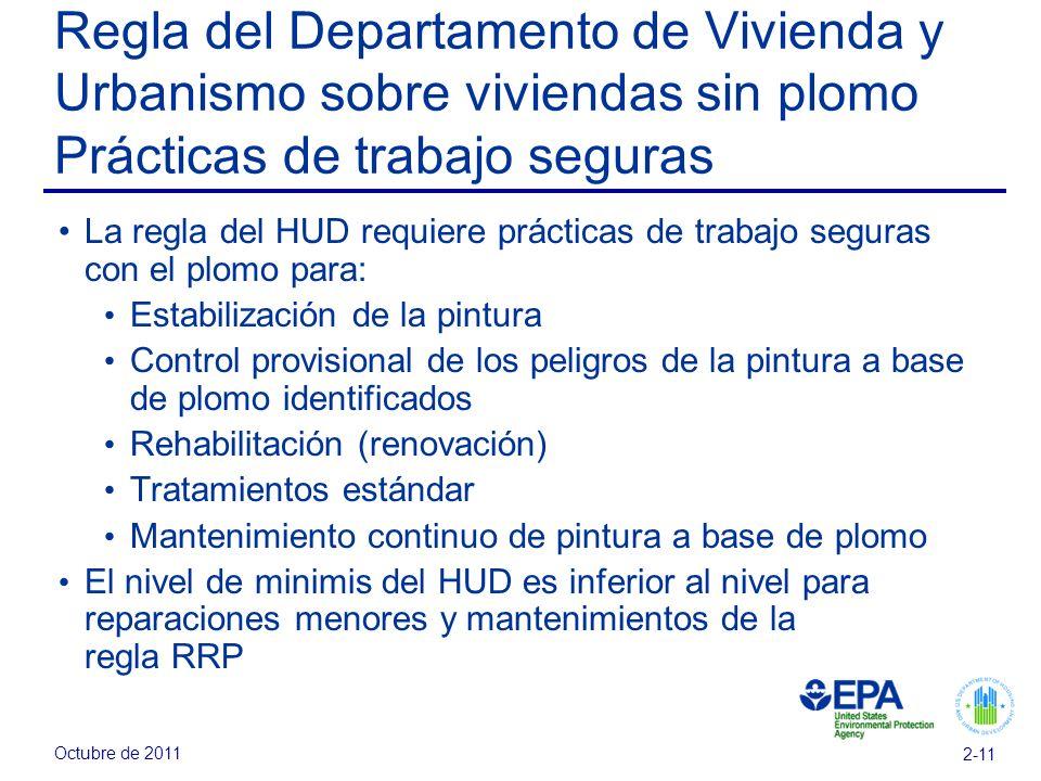 Octubre de 2011 2-11 Regla del Departamento de Vivienda y Urbanismo sobre viviendas sin plomo Prácticas de trabajo seguras La regla del HUD requiere p