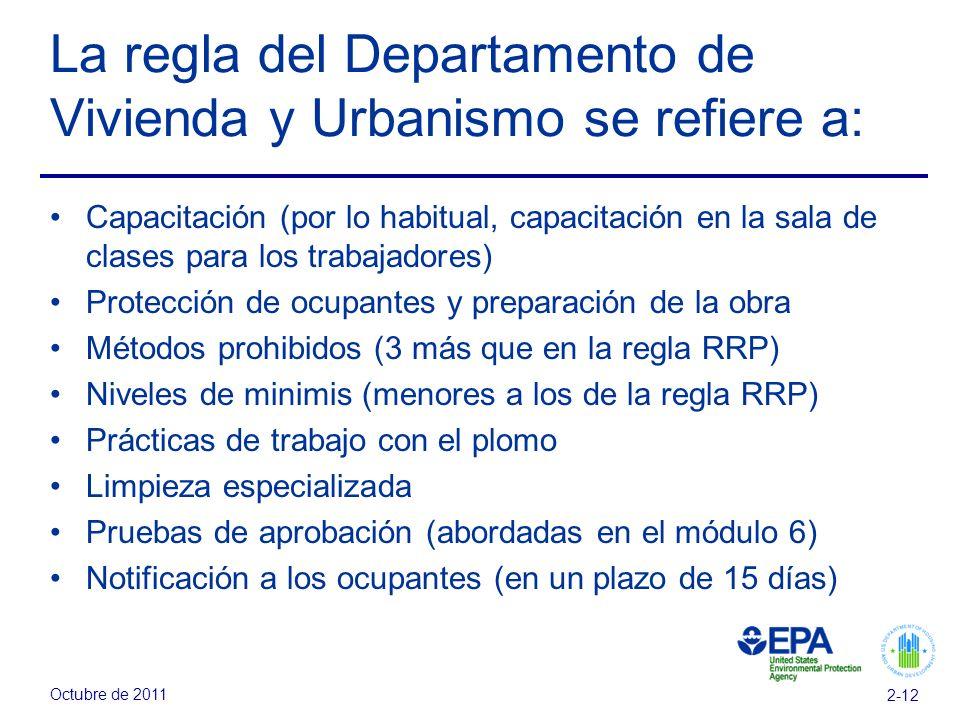 Octubre de 2011 2-12 La regla del Departamento de Vivienda y Urbanismo se refiere a: Capacitación (por lo habitual, capacitación en la sala de clases para los trabajadores) Protección de ocupantes y preparación de la obra Métodos prohibidos (3 más que en la regla RRP) Niveles de minimis (menores a los de la regla RRP) Prácticas de trabajo con el plomo Limpieza especializada Pruebas de aprobación (abordadas en el módulo 6) Notificación a los ocupantes (en un plazo de 15 días)