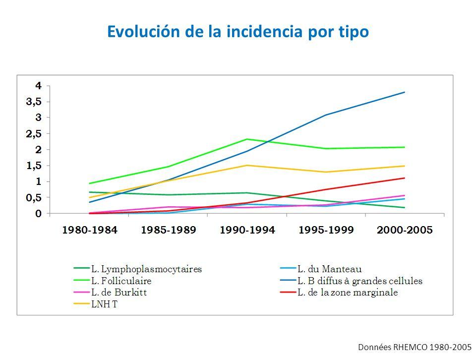 Evolución de la incidencia por tipo Données RHEMCO 1980-2005