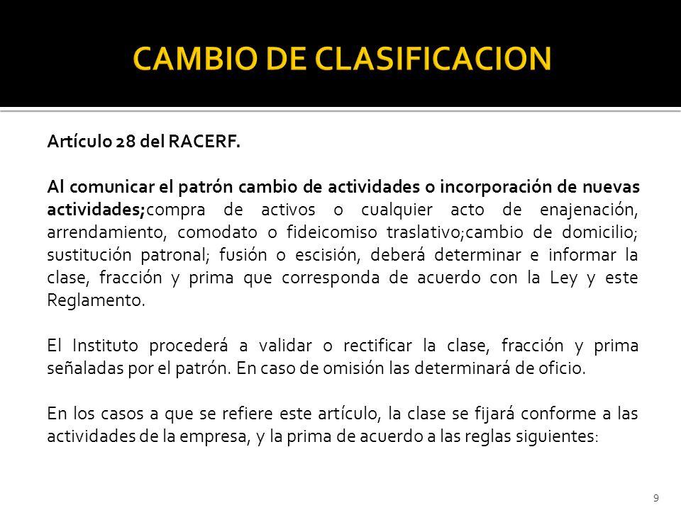 Artículo 28 del RACERF. Al comunicar el patrón cambio de actividades o incorporación de nuevas actividades;compra de activos o cualquier acto de enaje