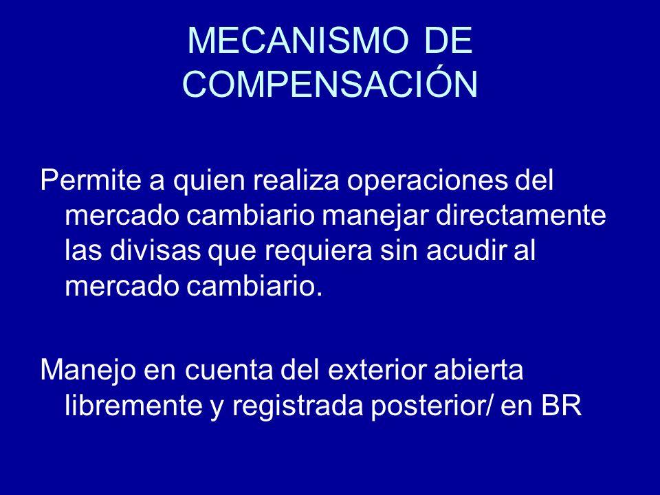 MECANISMO DE COMPENSACIÓN Permite a quien realiza operaciones del mercado cambiario manejar directamente las divisas que requiera sin acudir al mercad