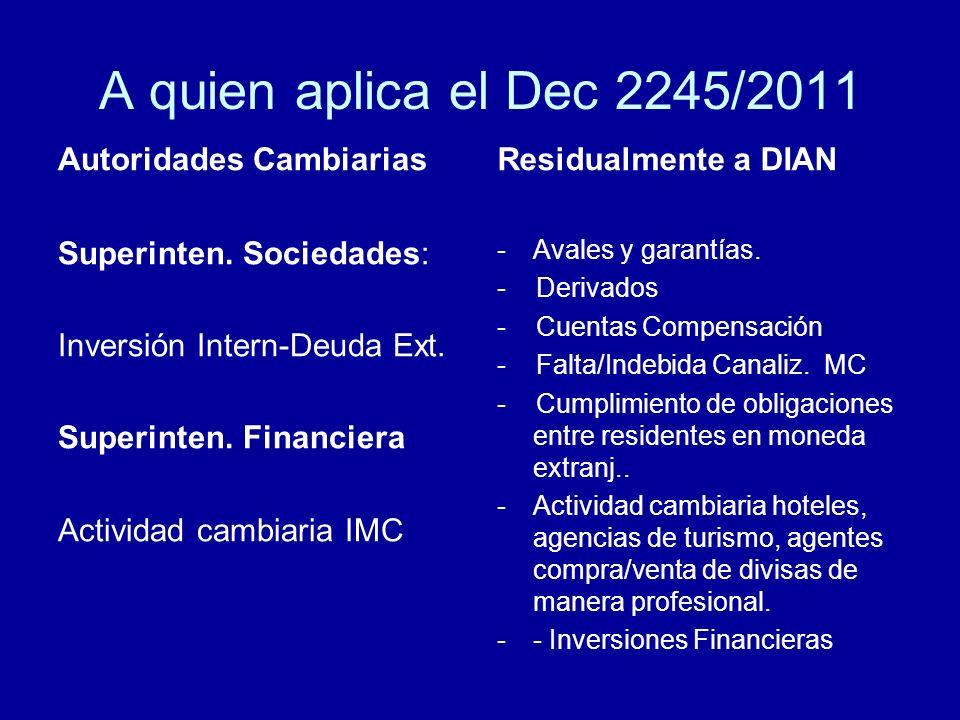 A quien aplica el Dec 2245/2011 Autoridades Cambiarias Superinten. Sociedades: Inversión Intern-Deuda Ext. Superinten. Financiera Actividad cambiaria