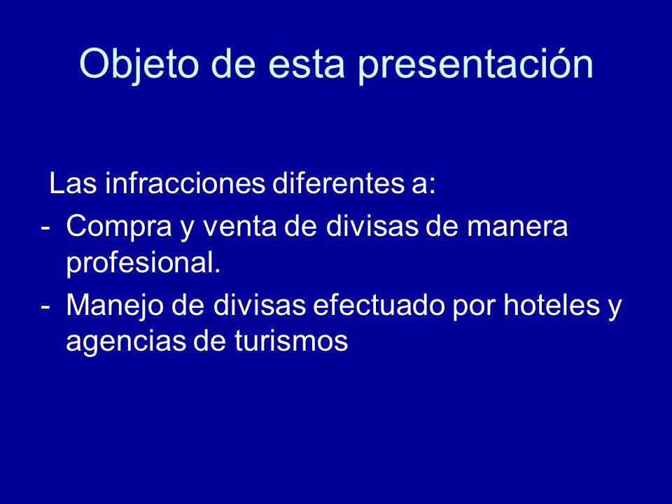 Objeto de esta presentación Las infracciones diferentes a: -Compra y venta de divisas de manera profesional. -Manejo de divisas efectuado por hoteles