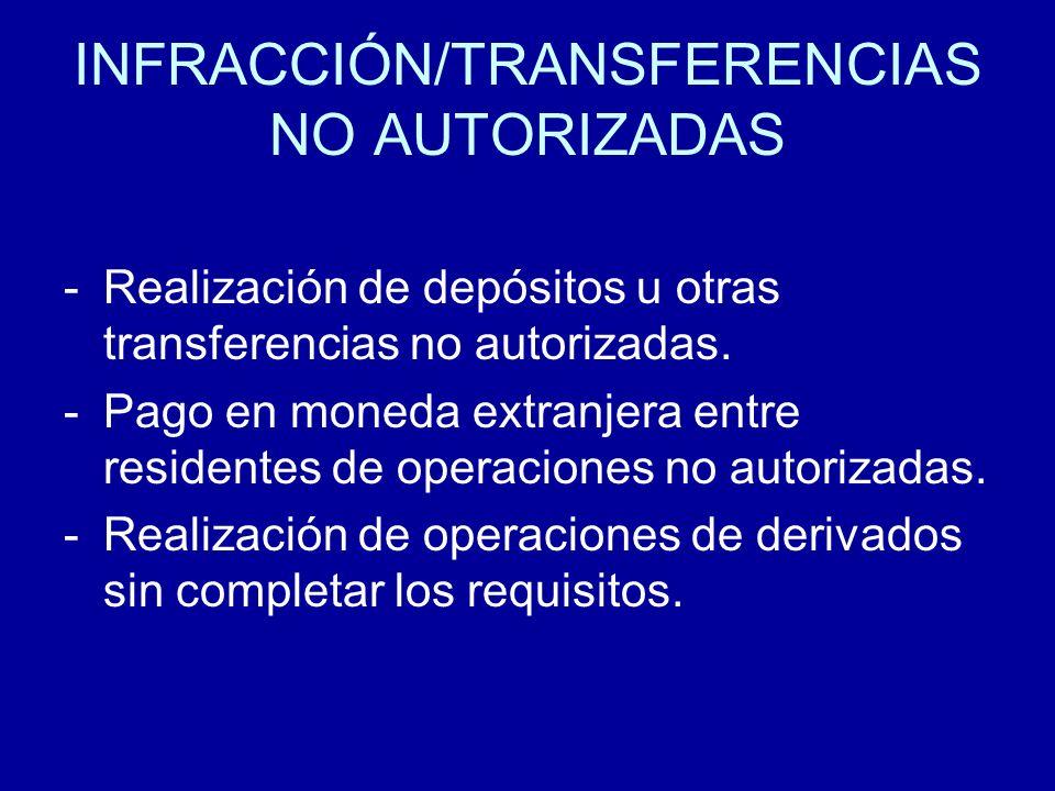 INFRACCIÓN/TRANSFERENCIAS NO AUTORIZADAS -Realización de depósitos u otras transferencias no autorizadas. -Pago en moneda extranjera entre residentes