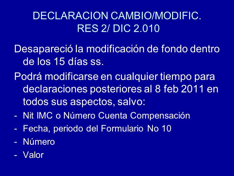 DECLARACION CAMBIO/MODIFIC. RES 2/ DIC 2.010 Desapareció la modificación de fondo dentro de los 15 días ss. Podrá modificarse en cualquier tiempo para