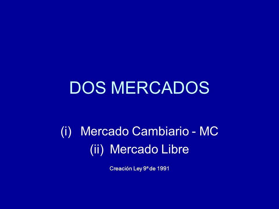 MERCADO CAMBIARIO-MC Es el constituido por la totalidad de las divisas que deben ser canalizadas por conducto de los intermediarios del mercado cambiario.