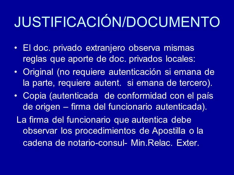 JUSTIFICACIÓN/DOCUMENTO El doc. privado extranjero observa mismas reglas que aporte de doc. privados locales: Original (no requiere autenticación si e