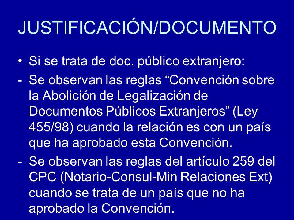 JUSTIFICACIÓN/DOCUMENTO Si se trata de doc. público extranjero: -Se observan las reglas Convención sobre la Abolición de Legalización de Documentos Pú