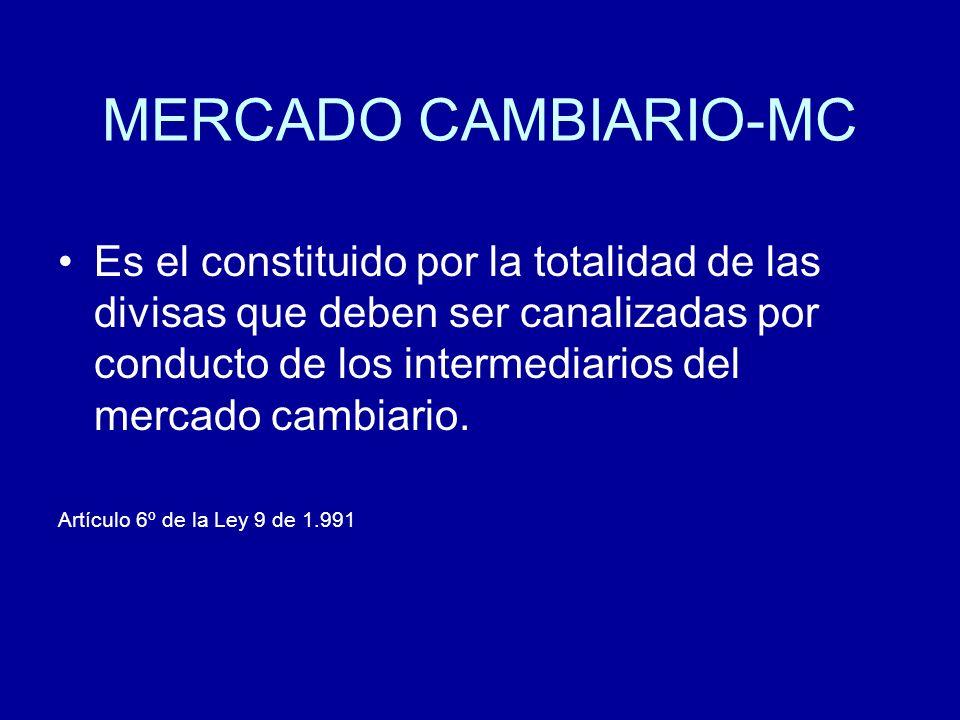MERCADO CAMBIARIO-MC Es el constituido por la totalidad de las divisas que deben ser canalizadas por conducto de los intermediarios del mercado cambia