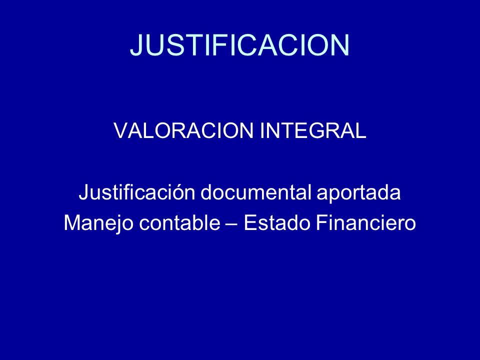 JUSTIFICACION VALORACION INTEGRAL Justificación documental aportada Manejo contable – Estado Financiero