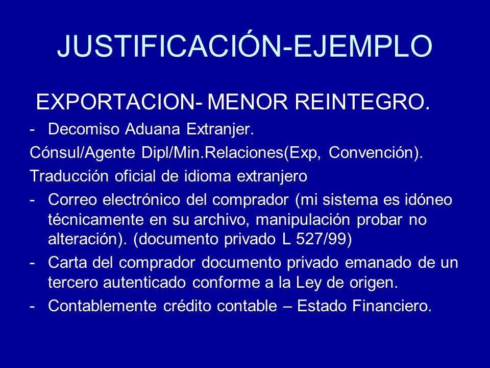 JUSTIFICACIÓN-EJEMPLO EXPORTACION- MENOR REINTEGRO. -Decomiso Aduana Extranjer. Cónsul/Agente Dipl/Min.Relaciones(Exp, Convención). Traducción oficial