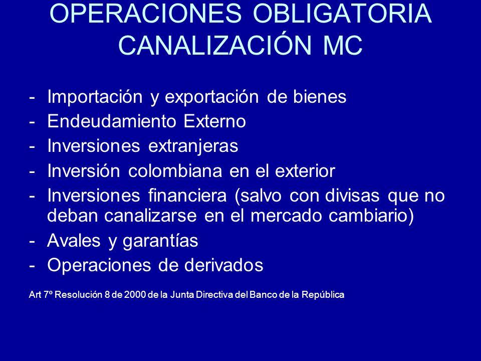 OPERACIONES OBLIGATORIA CANALIZACIÓN MC -Importación y exportación de bienes -Endeudamiento Externo -Inversiones extranjeras -Inversión colombiana en