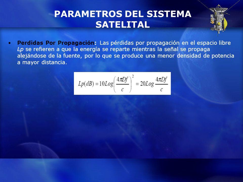 PARAMETROS DEL SISTEMA SATELITAL Perdidas Por Propagación: Las pérdidas por propagación en el espacio libre Lp se refieren a que la energía se reparte