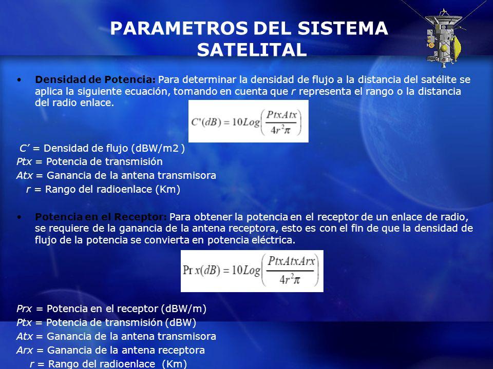 PARAMETROS DEL SISTEMA SATELITAL Densidad de Potencia: Para determinar la densidad de flujo a la distancia del satélite se aplica la siguiente ecuació