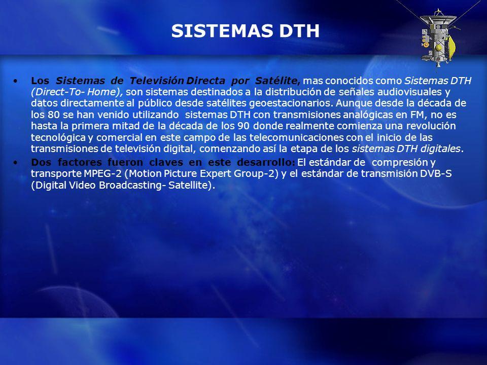 SISTEMAS DTH Los Sistemas de Televisión Directa por Satélite, mas conocidos como Sistemas DTH (Direct-To- Home), son sistemas destinados a la distribu