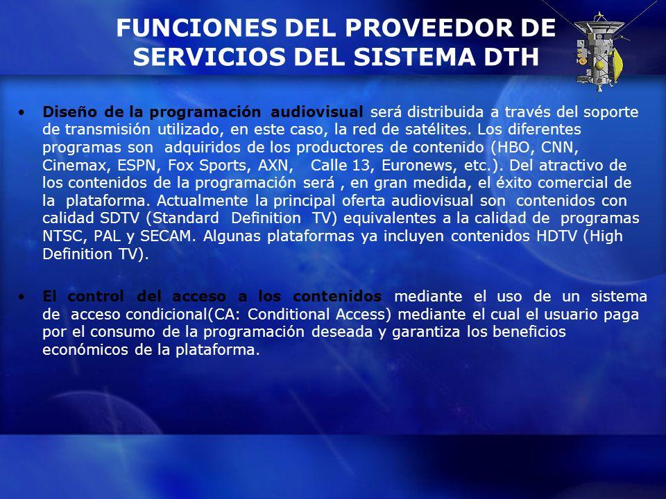 FUNCIONES DEL PROVEEDOR DE SERVICIOS DEL SISTEMA DTH Diseño de la programación audiovisual será distribuida a través del soporte de transmisión utiliz