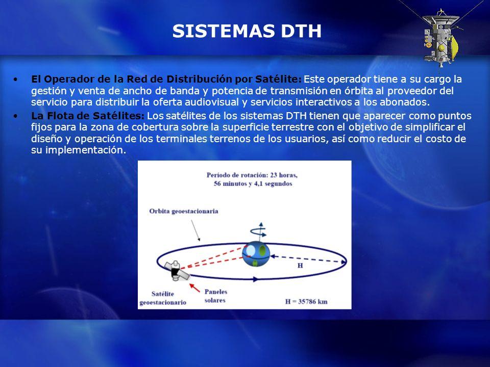 SISTEMAS DTH El Operador de la Red de Distribución por Satélite: Este operador tiene a su cargo la gestión y venta de ancho de banda y potencia de tra
