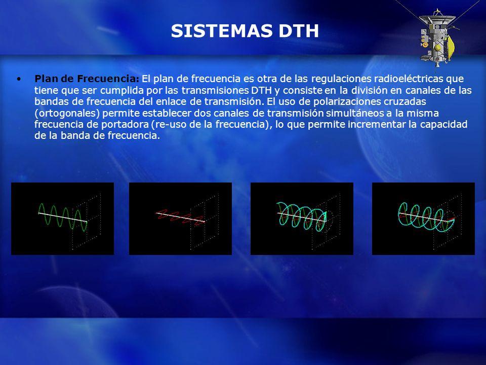 SISTEMAS DTH Plan de Frecuencia: El plan de frecuencia es otra de las regulaciones radioeléctricas que tiene que ser cumplida por las transmisiones DT