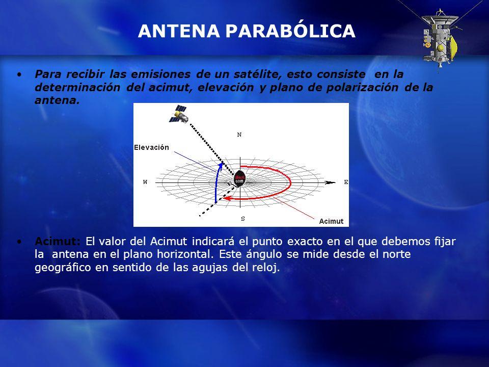 ANTENA PARABÓLICA Para recibir las emisiones de un satélite, esto consiste en la determinación del acimut, elevación y plano de polarización de la ant
