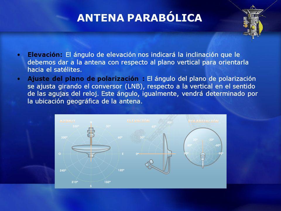 ANTENA PARABÓLICA Elevación: El ángulo de elevación nos indicará la inclinación que le debemos dar a la antena con respecto al plano vertical para ori