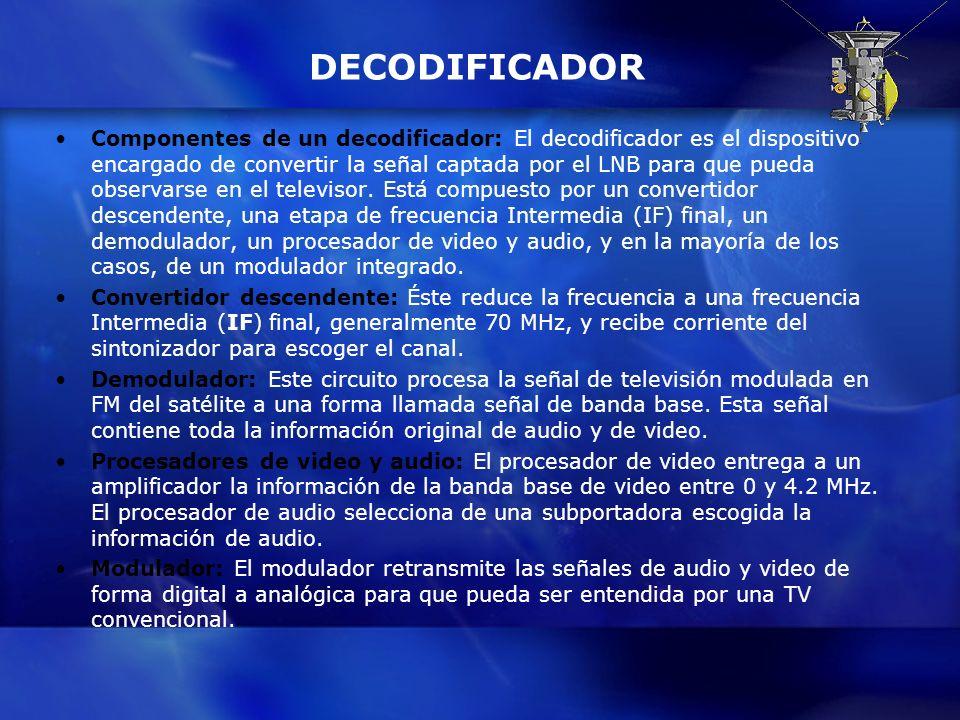 DECODIFICADOR Componentes de un decodificador: El decodificador es el dispositivo encargado de convertir la señal captada por el LNB para que pueda ob