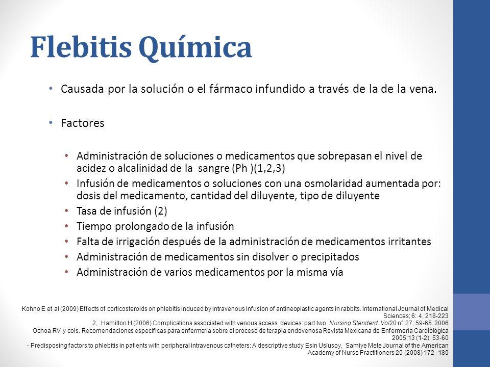 Flebitis Química Causada por la solución o el fármaco infundido a través de la de la vena.