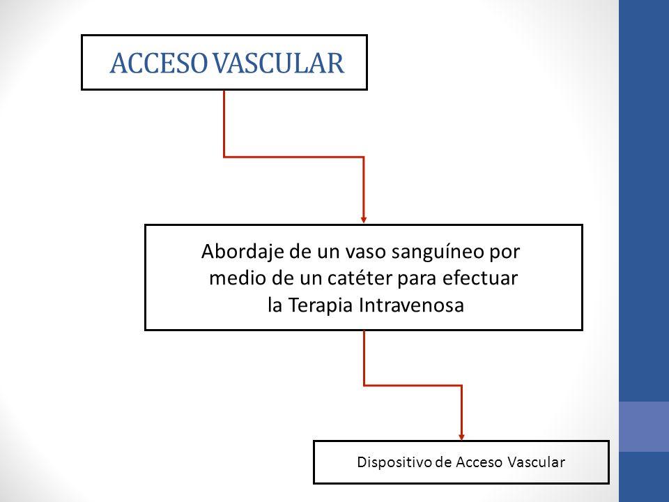 ACCESO VASCULAR Abordaje de un vaso sanguíneo por medio de un catéter para efectuar la Terapia Intravenosa Dispositivo de Acceso Vascular