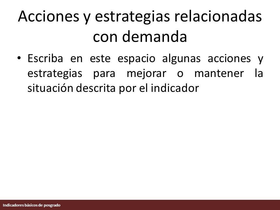 Acciones y estrategias relacionadas con demanda Escriba en este espacio algunas acciones y estrategias para mejorar o mantener la situación descrita por el indicador Indicadores básicos de posgrado