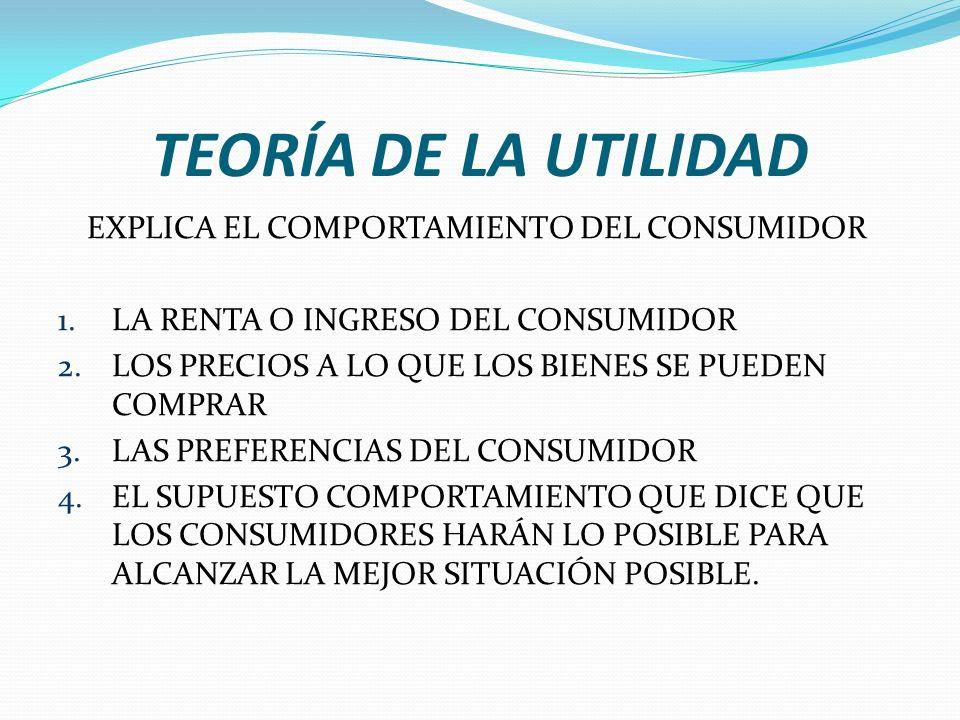 TEORÍA DE LA UTILIDAD EXPLICA EL COMPORTAMIENTO DEL CONSUMIDOR 1.LA RENTA O INGRESO DEL CONSUMIDOR 2.LOS PRECIOS A LO QUE LOS BIENES SE PUEDEN COMPRAR 3.LAS PREFERENCIAS DEL CONSUMIDOR 4.EL SUPUESTO COMPORTAMIENTO QUE DICE QUE LOS CONSUMIDORES HARÁN LO POSIBLE PARA ALCANZAR LA MEJOR SITUACIÓN POSIBLE.