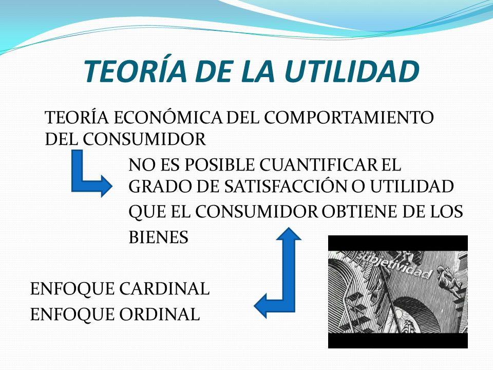 TEORÍA DE LA UTILIDAD TEORÍA ECONÓMICA DEL COMPORTAMIENTO DEL CONSUMIDOR NO ES POSIBLE CUANTIFICAR EL GRADO DE SATISFACCIÓN O UTILIDAD QUE EL CONSUMIDOR OBTIENE DE LOS BIENES ENFOQUE CARDINAL ENFOQUE ORDINAL