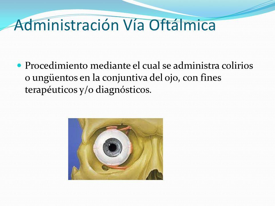 Procedimiento mediante el cual se administra colirios o ungüentos en la conjuntiva del ojo, con fines terapéuticos y/o diagnósticos.