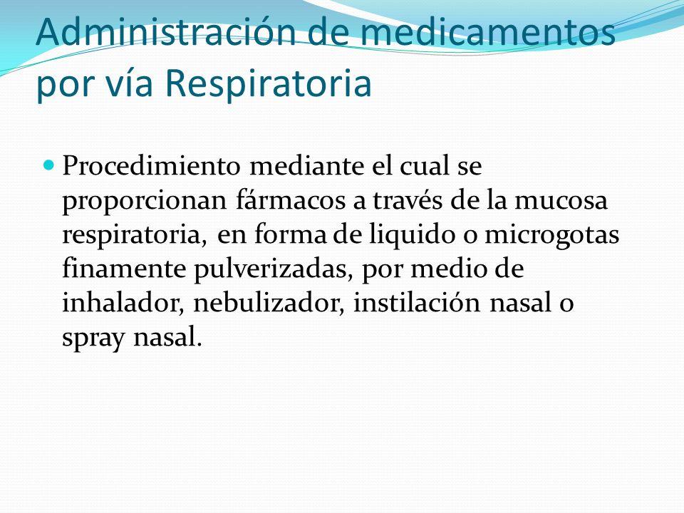 Procedimiento mediante el cual se proporcionan fármacos a través de la mucosa respiratoria, en forma de liquido o microgotas finamente pulverizadas, p