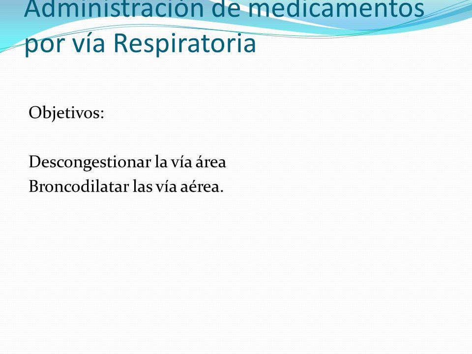Administración de medicamentos por vía Respiratoria Objetivos: Descongestionar la vía área Broncodilatar las vía aérea.