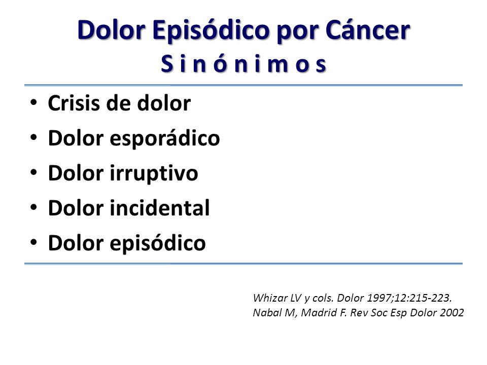 Dolor Episódico por Cáncer S i n ó n i m o s Crisis de dolor Dolor esporádico Dolor irruptivo Dolor incidental Dolor episódico Whizar LV y cols.