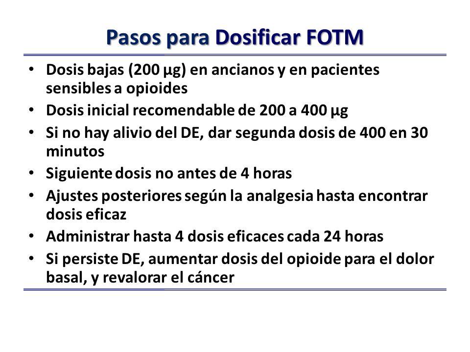 Pasos para Dosificar FOTM Dosis bajas (200 µg) en ancianos y en pacientes sensibles a opioides Dosis inicial recomendable de 200 a 400 µg Si no hay alivio del DE, dar segunda dosis de 400 en 30 minutos Siguiente dosis no antes de 4 horas Ajustes posteriores según la analgesia hasta encontrar dosis eficaz Administrar hasta 4 dosis eficaces cada 24 horas Si persiste DE, aumentar dosis del opioide para el dolor basal, y revalorar el cáncer